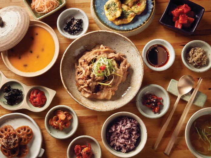 Korean noodles on table