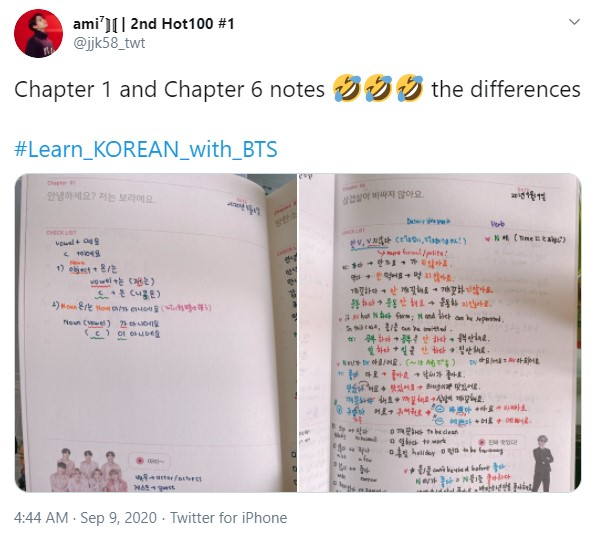 learn korean with bts notes