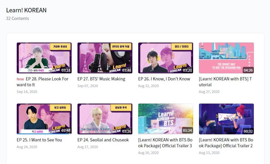 learn korean with bts videos